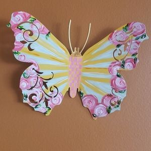 Metal hand painted butterfly